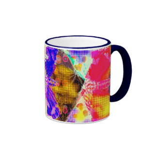 Abstract Butterfly Design Ringer Coffee Mug