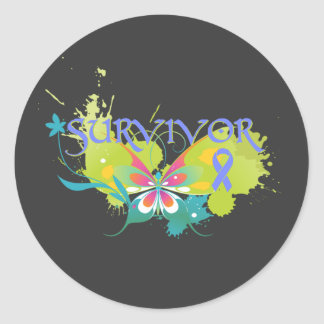 Abstract Butterfly Esophageal Cancer Survivor Classic Round Sticker