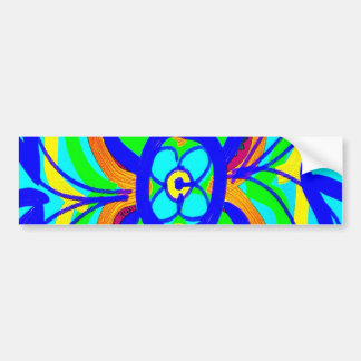 Abstract Butterfly Flower Kids Doodle Teal Lime Bumper Sticker