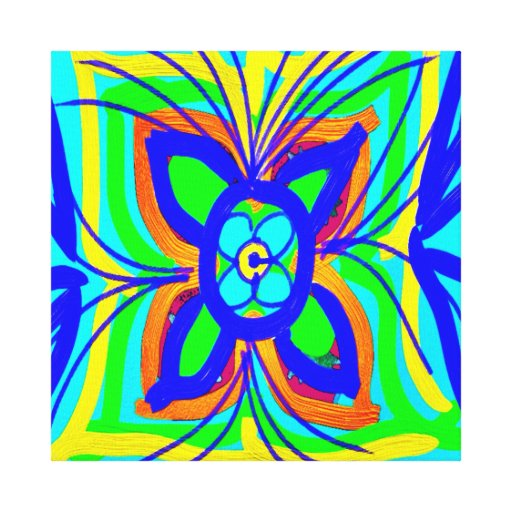 Abstract Butterfly Flower Kids Doodle Teal Lime Canvas Print