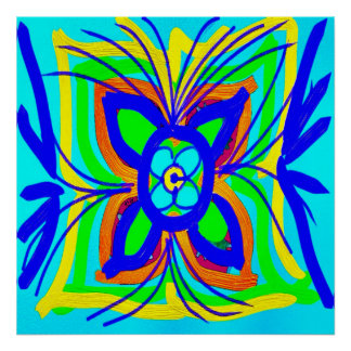 Abstract Butterfly Flower Kids Doodle Teal Lime Posters