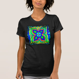 Abstract Butterfly Flower Kids Doodle Teal Lime T-Shirt