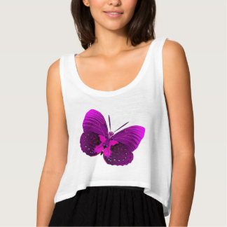 Abstract Butterfly Flowy Crop Tank Top