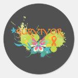 Abstract Butterfly Leukemia Survivor Round Stickers