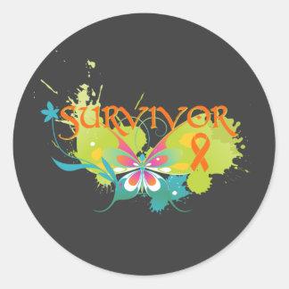 Abstract Butterfly Leukemia Survivor Classic Round Sticker