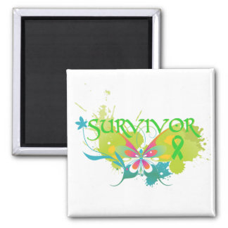 Abstract Butterfly Non-Hodgkin's Lymphoma Survivor 2 Inch Square Magnet