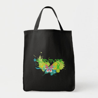 Abstract Butterfly Non-Hodgkin's Lymphoma Survivor Grocery Tote Bag