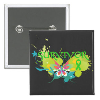 Abstract Butterfly Non-Hodgkin's Lymphoma Survivor 2 Inch Square Button