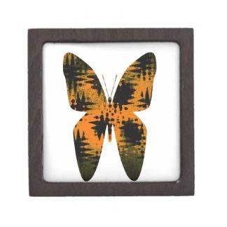 Abstract Butterfly Orange Black Zig-Zag Pattern Jewelry Box
