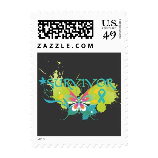 Abstract Butterfly Ovarian Cancer Survivor Postage