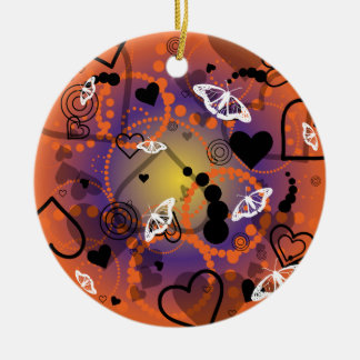 Abstract Butterfly Sphere Orange Purple Ceramic Ornament