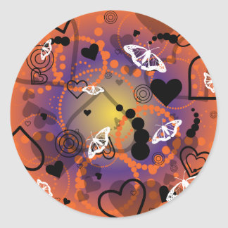 Abstract Butterfly Sphere Orange Purple Classic Round Sticker
