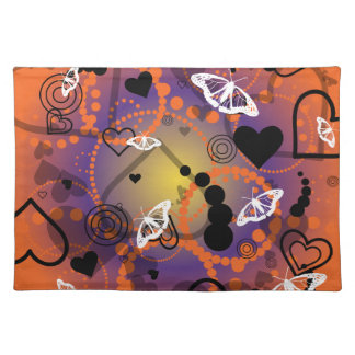 Abstract Butterfly Sphere Orange Purple Cloth Placemat