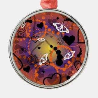 Abstract Butterfly Sphere Orange Purple Metal Ornament