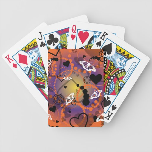 Abstract Butterfly Sphere Orange Purple Bicycle Card Decks
