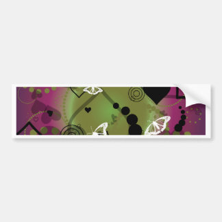 Abstract Butterfly Sphere Purple Green Car Bumper Sticker