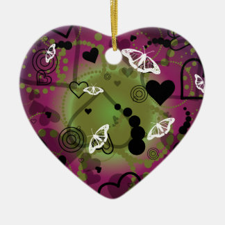Abstract Butterfly Sphere Purple Green Ceramic Ornament