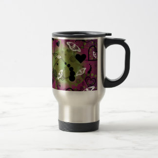Abstract Butterfly Sphere Purple Green 15 Oz Stainless Steel Travel Mug