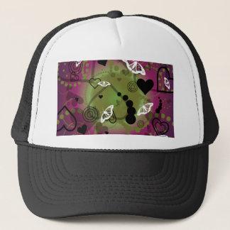 Abstract Butterfly Sphere Purple Green Trucker Hat