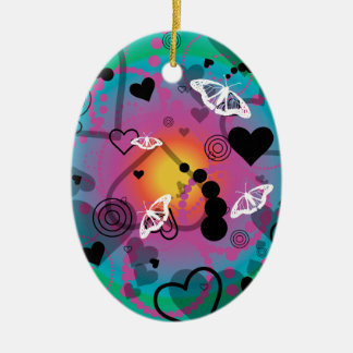 Abstract Butterfly Sphere Rainbow Ceramic Ornament