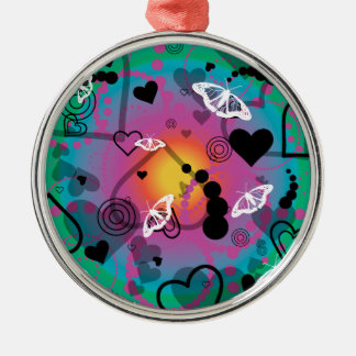 Abstract Butterfly Sphere Rainbow Metal Ornament