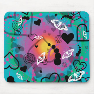 Abstract Butterfly Sphere Rainbow Mouse Pad