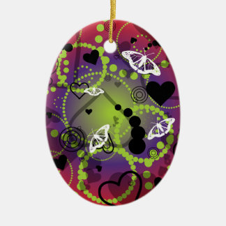 Abstract Butterfly Sphere Red Green Purple Ceramic Ornament