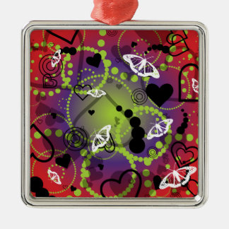 Abstract Butterfly Sphere Red Green Purple Metal Ornament