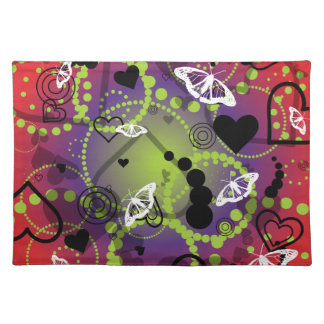 Abstract Butterfly Sphere Red Green Purple Placemats