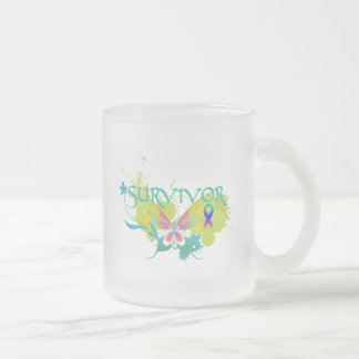 Abstract Butterfly Thyroid Cancer Survivor Frosted Glass Coffee Mug