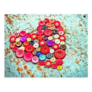 Abstract Button Heart Art Postcard