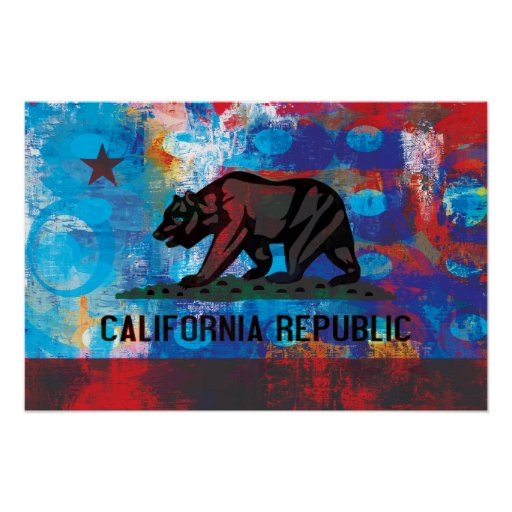 Abstract California Flag Print