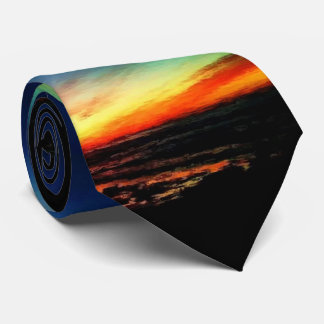 Abstract California Sunset with Painting Effect Neck Tie