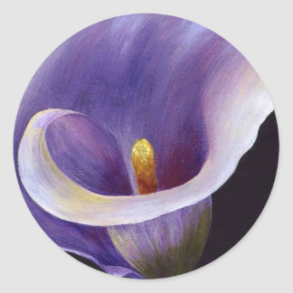 Abstract Calla Lily In Purple Round Stickers