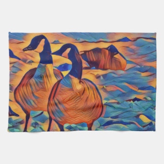 Abstract Canadian Geese Colorful Painting Towels