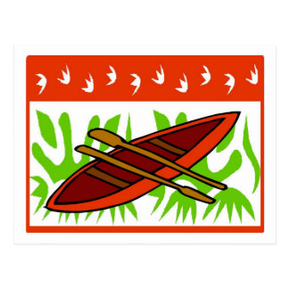 Abstract Canoe Christmas Postcard