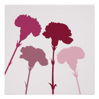 Abstract Carnation Silhouettes – Reds & Pinks Poster