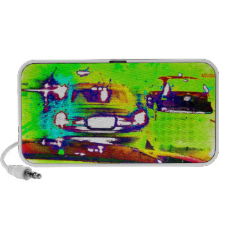 Abstract Cars Lime Green Art Photograph Mini Speakers