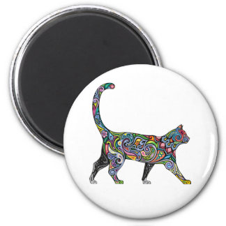 Abstract Cat 2 Inch Round Magnet