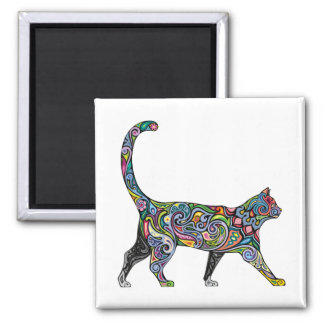 Abstract Cat 2 Inch Square Magnet
