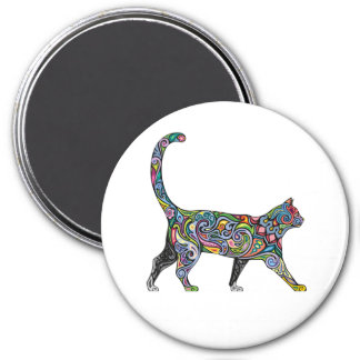 Abstract Cat 3 Inch Round Magnet