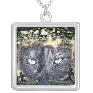 Abstract Cat Cell Phone Case by Artful Oasis Silver Plated Necklace