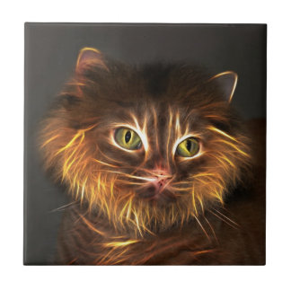 Abstract cat face ceramic tile