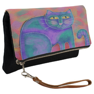 Abstract Cat Foldover Wristlet Clutch Purse
