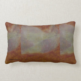 Abstract Cat in the Winter on a Warm Brown Couch Lumbar Pillow