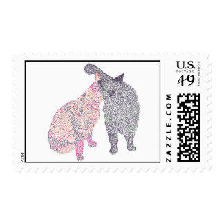 Abstract Cat kiss Painting 1, Postage Stamps