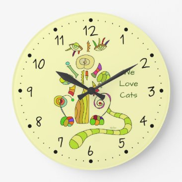 Abstract cat large clock
