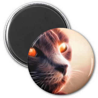 Abstract Cat Pet 2 Inch Round Magnet