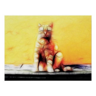 Abstract Cat Posters