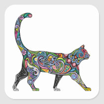 Abstract Cat Square Sticker